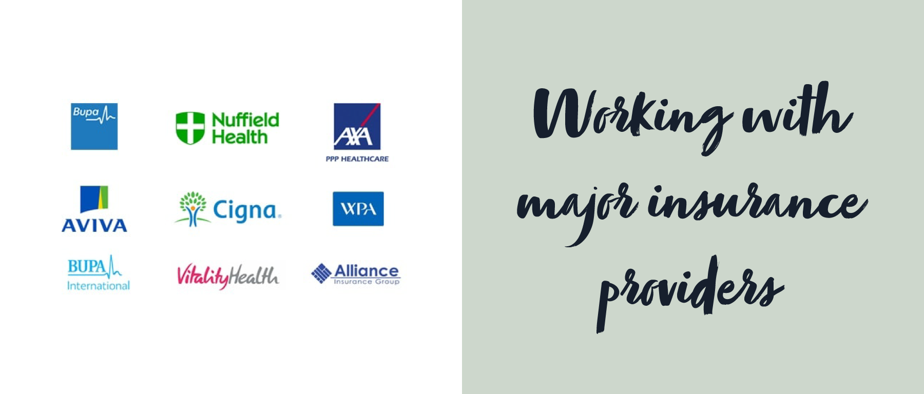 Working with major insurance providers